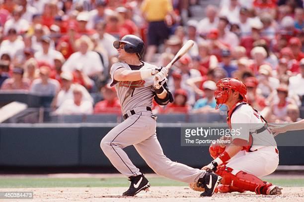 Craig Biggio of the Houston Astros bats against the St Louis Cardinals on July 1 2000 at Busch Stadium in St Louis Missouri
