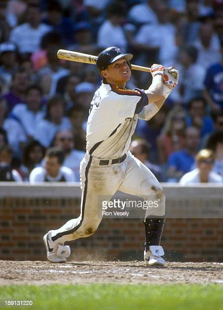 Craig Biggio of the Houston Astros bats during an MLB game versus the Chicago Cubs at Wrigley Field in Chicago Illinois Biggio played for the Astros...