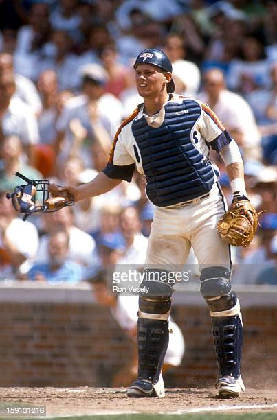 Craig Biggio of the Houston Astros catches during an MLB game versus the Chicago Cubs at Wrigley Field in Chicago Illinois Biggio played for the...