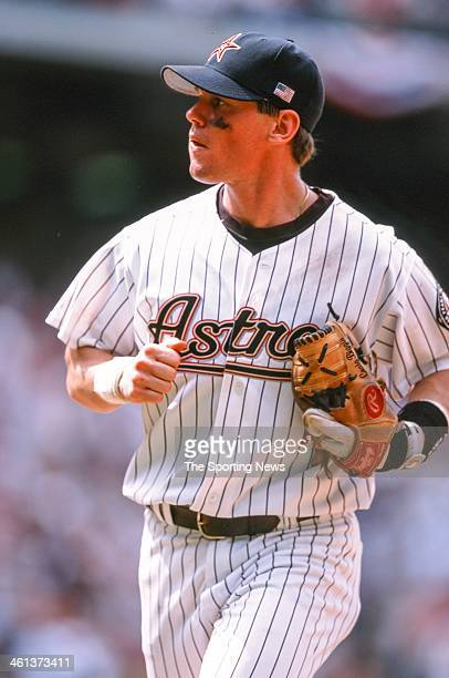 Craig Biggio of the Houston Astros during Game One of the National League Division Series against the Atlanta Braves on October 9 2001 at Enron Field...