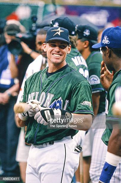 Craig Biggio of the Houston Astros during the AllStar Home Run Contest on July 6 1998 at Coors Field in Denver Colorado