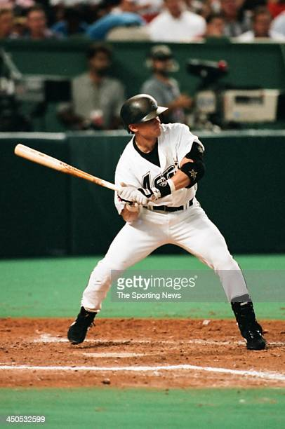 Craig Biggio of the Houston Astros during the game against the Atlanta Braves at the Astrodome on August 19 1997 in Houston Texas