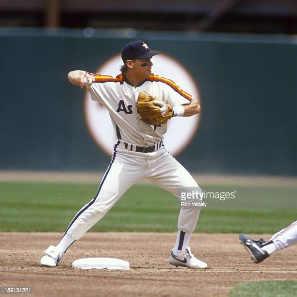 Craig Biggio of the Houston Astros fields during an MLB game versus the San Francisco Giants at Candlestick Park in San Francisco California Biggio...