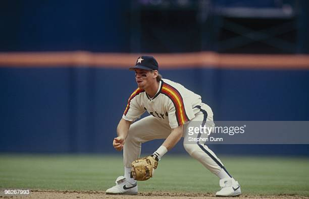 Craig Biggio of the Houston Astros gets set in his defensive position during their MLB game against the San Diego Padres at Jack Murphy Stadium on...