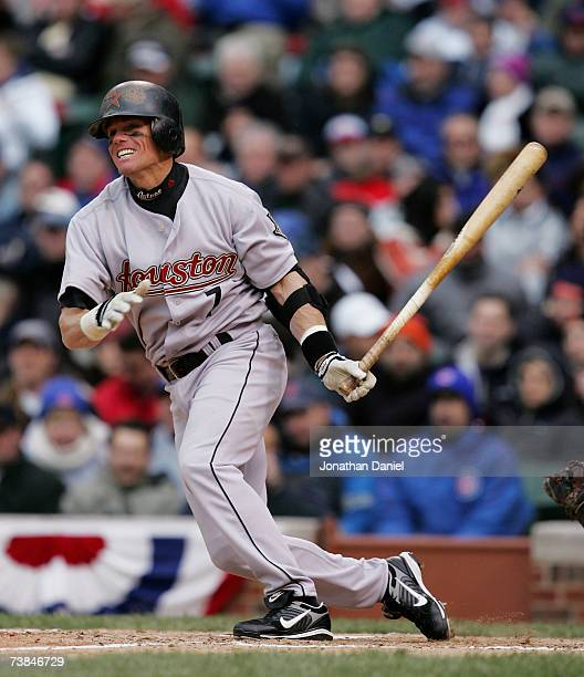 Craig Biggio of the Houston Astros hits his second double of the game against the Chicago Cubs during the Cubs home opener on April 9 2007 at Wrigley...