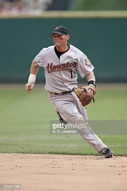 Craig Biggio of the Houston Astros in action during a game against the St Louis Cardinals at Busch Stadium in St Louis Mo on July 16 2005 St Louis...