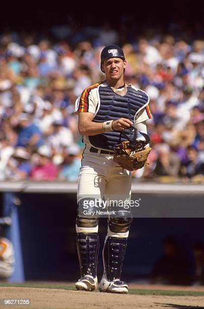 Craig Biggio of the Houston Astros looks on the field during a game against the Los Angeles Dodgers at Dodger Stadium on August 18 1991 in Los...