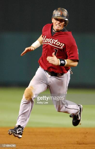 Craig Biggio of the Houston Astros rounds the bases during 95 victory over the Los Angeles Angels of Anaheim in Major League Baseball Interleague...