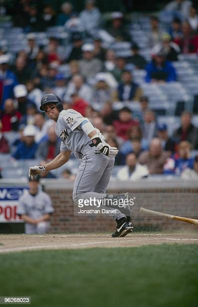 Craig Biggio of the Houston Astros runs to first base during their MLB game against the Chicago Cubs at Wrigley Field on May 14 1996 in Chicago...