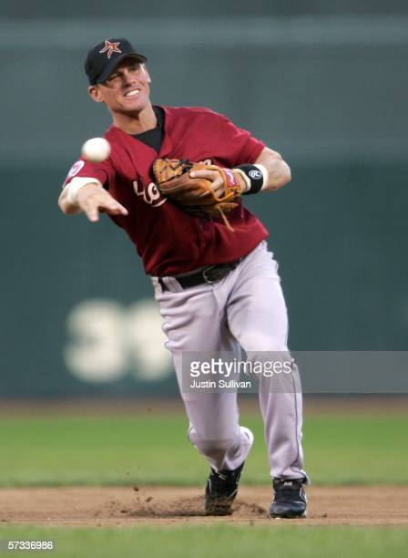 Craig Biggio of the Houston Astros throws to first base during a game against the San Francisco Giants on April 13 2006 at ATT Park in San Francisco...
