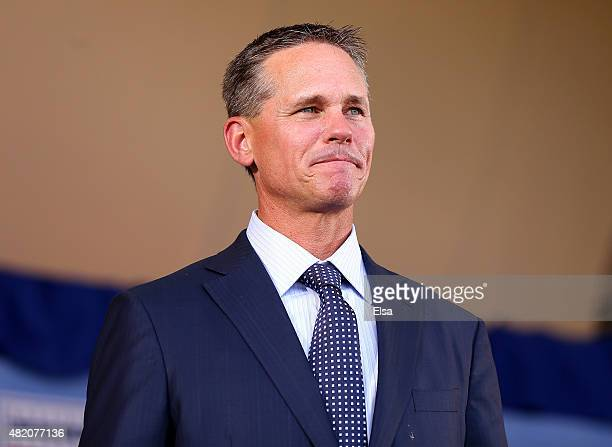 Craig Biggio smiles as he is introduced during the Hall of Fame Induction Ceremony at National Baseball Hall of Fame on July 26 2015 in Cooperstown...