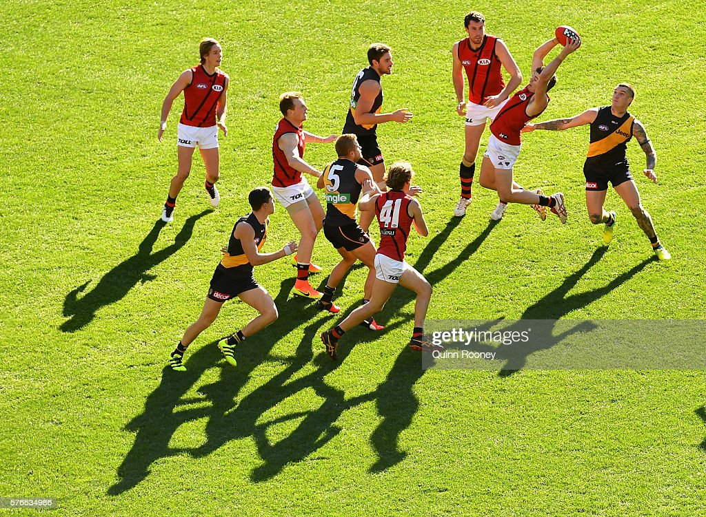 Craig Bird of the Bombers marks during the round 17 AFL match between the Richmond Tigers and the Essendon Bombers at Melbourne Cricket Ground on...