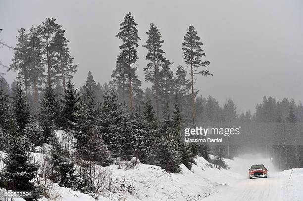 Craig Breen of Ireland and Scott Martin of Great Britain compete in their Abu Dhabi Total WRT Citroen DS3 WRC during Day One of the WRC Sweden on...