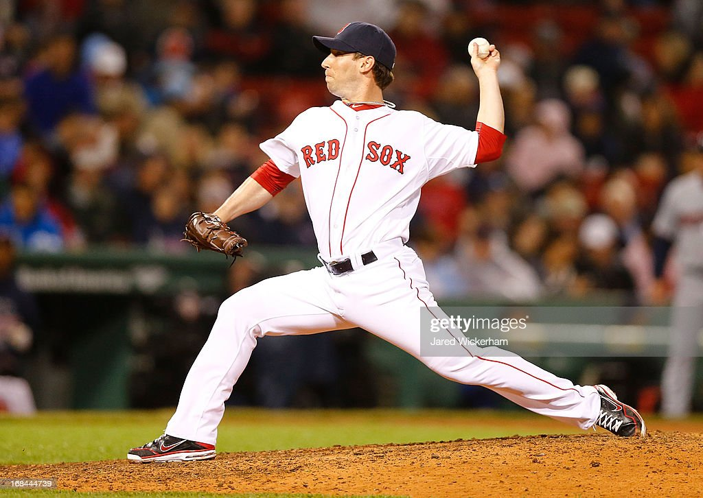 <a gi-track='captionPersonalityLinkClicked' href=/galleries/search?phrase=Craig+Breslow&family=editorial&specificpeople=836367 ng-click='$event.stopPropagation()'>Craig Breslow</a> #32 of the Boston Red Sox pitches against the Minnesota Twins during the game on May 9, 2013 at Fenway Park in Boston, Massachusetts.