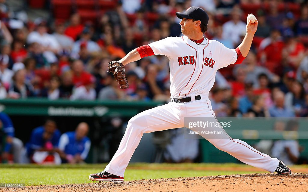 Craig Breslow #32 of the Boston Red Sox pitches against the Toronto Blue Jays during the game on May 12, 2013 at Fenway Park in Boston, Massachusetts.