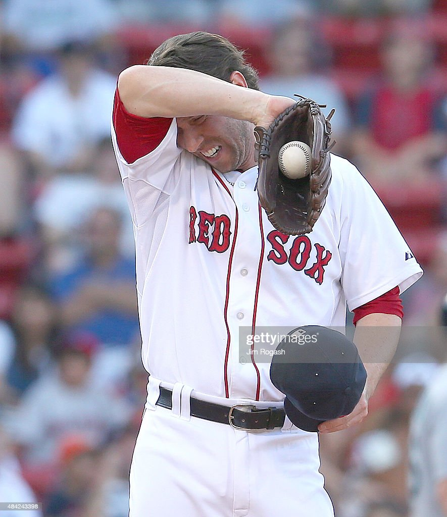 <a gi-track='captionPersonalityLinkClicked' href=/galleries/search?phrase=Craig+Breslow&family=editorial&specificpeople=836367 ng-click='$event.stopPropagation()'>Craig Breslow</a> #32 of the Boston Red Sox reacts after giving up the winning run against the Seattle Mariners in the eleventh inning at Fenway Park on August 16, 2015 in Boston, Massachusetts.