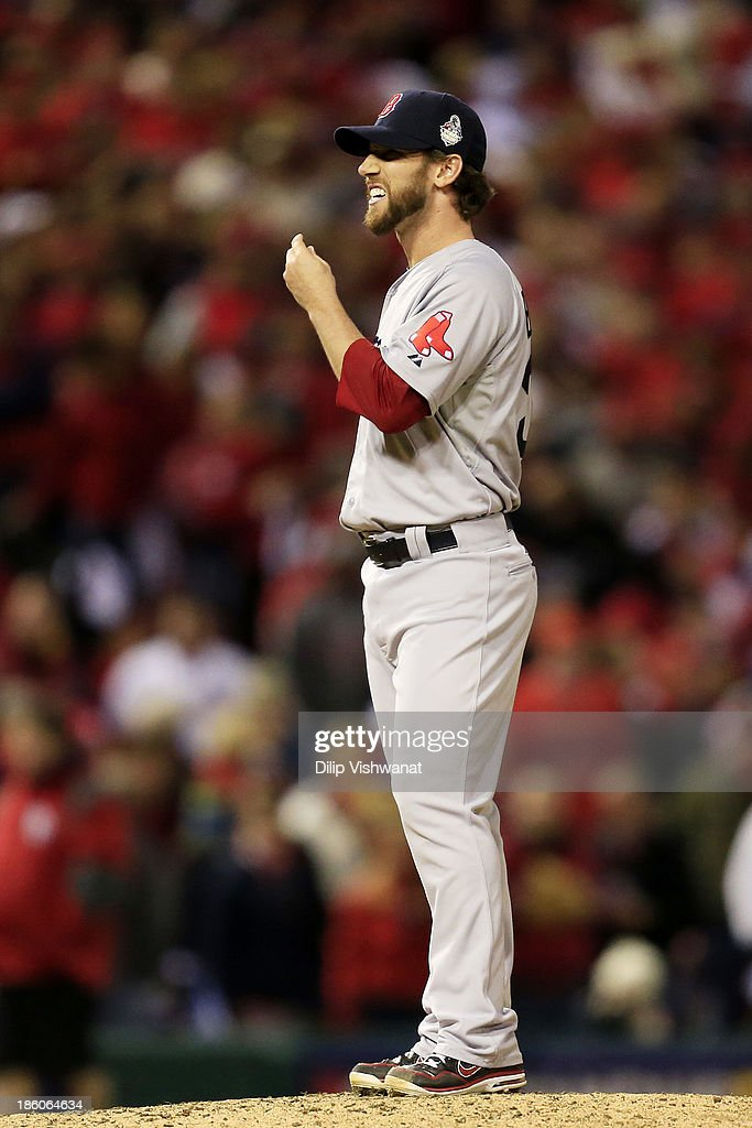 <a gi-track='captionPersonalityLinkClicked' href=/galleries/search?phrase=Craig+Breslow&family=editorial&specificpeople=836367 ng-click='$event.stopPropagation()'>Craig Breslow</a> #32 of the Boston Red Sox reacts after Matt Carpenter of the Boston Red Sox single to right field against in the seventh inning to bring home Shane Robinson #43 during Game Four of the 2013 World Series at Busch Stadium on October 27, 2013 in St Louis, Missouri.