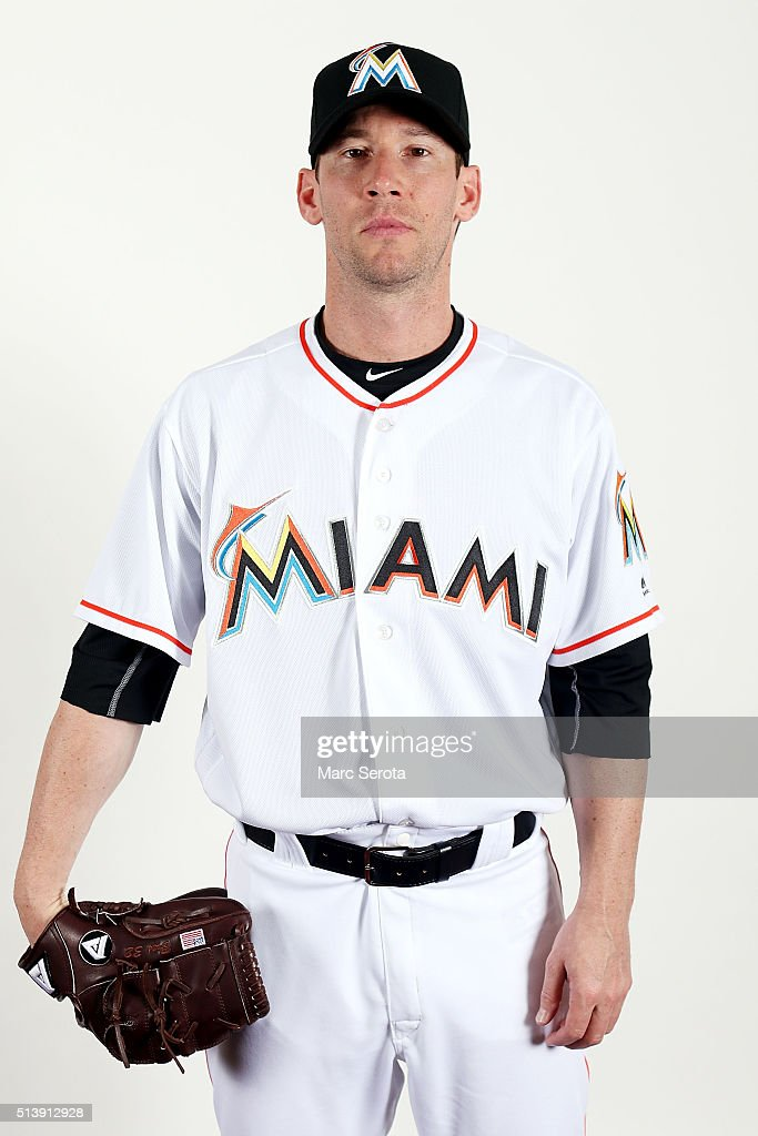 <a gi-track='captionPersonalityLinkClicked' href=/galleries/search?phrase=Craig+Breslow&family=editorial&specificpeople=836367 ng-click='$event.stopPropagation()'>Craig Breslow</a> of the Miami Marlins poses for photos on media day at Roger Dean Stadium on February 24, 2016 in Jupiter, Florida.