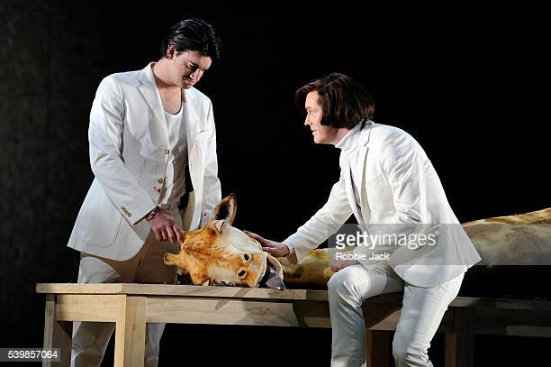 Craig Brown as Achillas and Tim Mead as Ptolemy in English National Opera's production of George Frideric Handel's Julius Caesar directed by Michael...