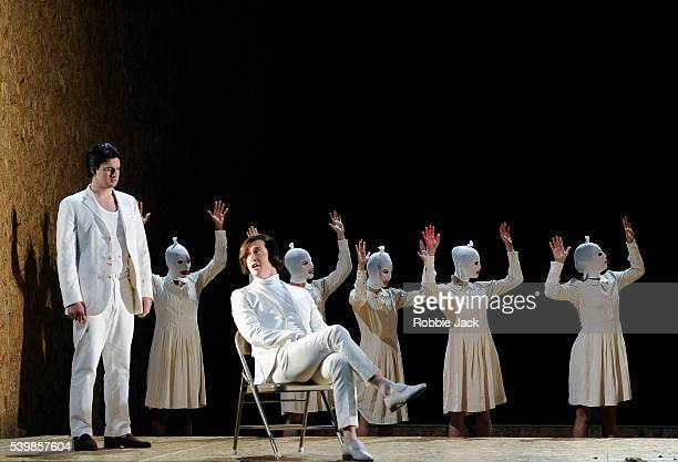 Craig Brown as Achillas and Tim Mead as Ptolemy with artists of the company in English National Opera's production of George Frideric Handel's Julius...