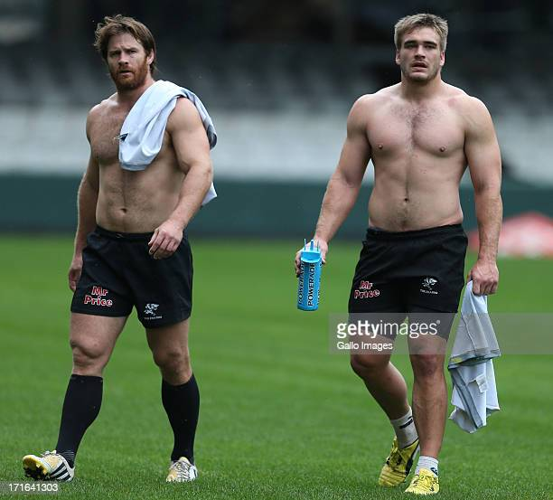 Craig Burden and Dale Chadwick of the Sharks during The Sharks training session at Growthpoint Kings Park on June 27 2013 in Durban South Africa