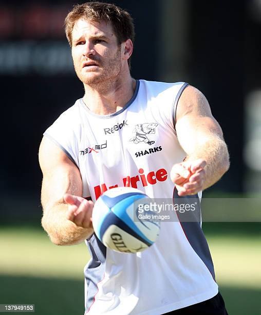 Craig Burden of the Sharks in action during a Sharks training session at Mr Price King Park on January 30 2012 in Durban South Africa
