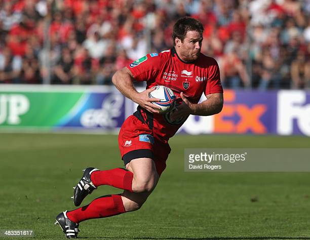 Craig Burden of Toulon runs with the ball during the Heineken Cup quarter final match between Toulon and Leinster at the Felix Mayol Stadium on April...