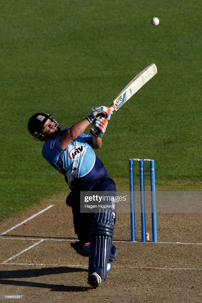 Craig Cachopa of Auckland bats during the HRV Cup Twenty20 Preliminary Final between the Wellington Firebirds and the Auckland Aces at Basin Reserve on January 18, 2013 in Wellington, New Zealand.