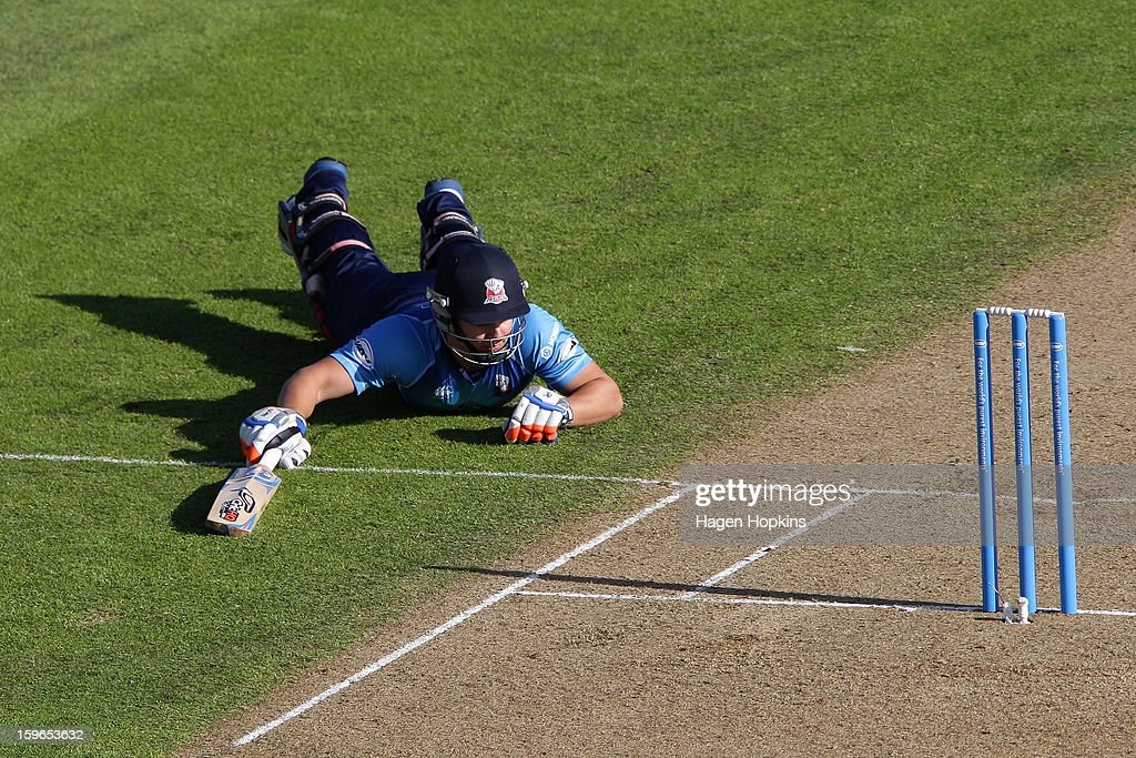 Craig Cachopa of Auckland makes his ground during the HRV Cup Twenty20 Preliminary Final between the Wellington Firebirds and the Auckland Aces at Basin Reserve on January 18, 2013 in Wellington, New Zealand.