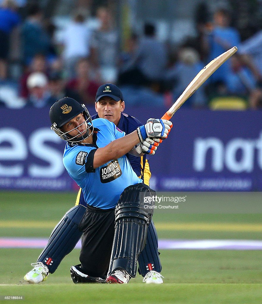 Craig Cachopa of Sussex hits out during the Natwest T20 Blast match between Sussex Sharks and Glamorgan at The BrightonAndHoveJobs.com County Ground on July 15, 2014 in Hove, England.