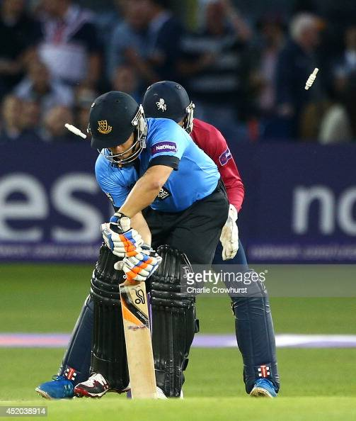 Craig Cachopa of Sussex is bowled out by Kent's Fabian Cowdrey during the Natwest T20 Blast match between Sussex Sharks and Kent Spitfires at...
