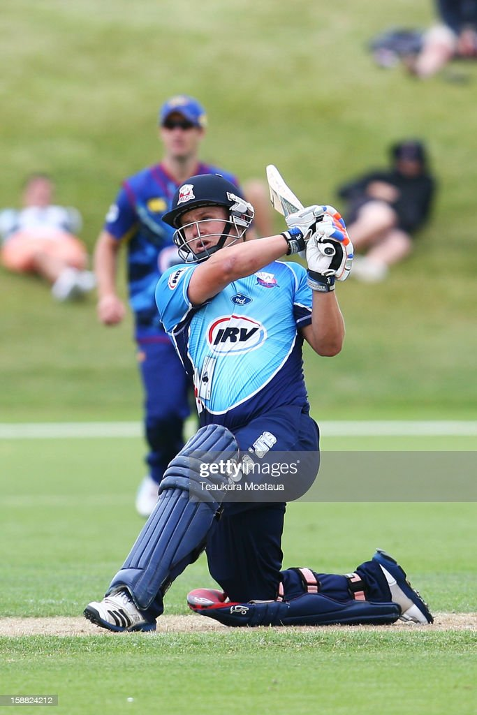 Craig CachopaÊof Auckland hits to the onside during the Twenty20 match between Otago and Auckland at Queenstown Events Centre on December 31, 2012 in Queenstown, New Zealand.