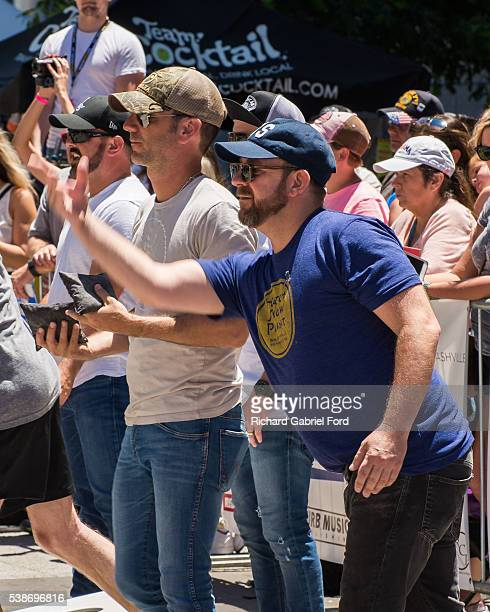 Craig Campbell and Kristian Bush attend the celebrity cornhole challange on June 7 2016 in Nashville Tennessee