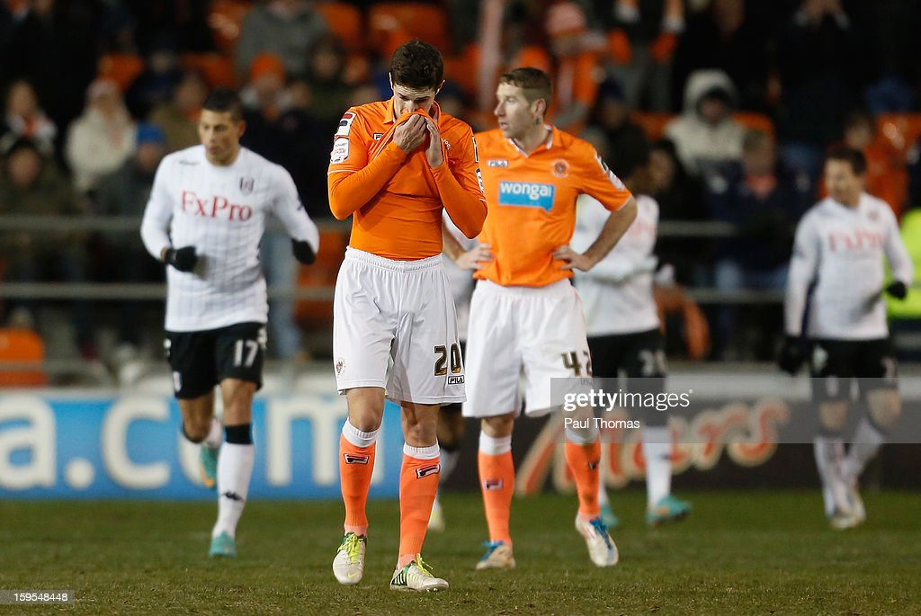 Craig Cathcart of Blackpool looks dejectd after Fulham score in extra time during the FA Cup with Budweiser Third Round Replay match between Blackpool and Fulham at Bloomfield Road on January 15, 2013 in Blackpool, England.