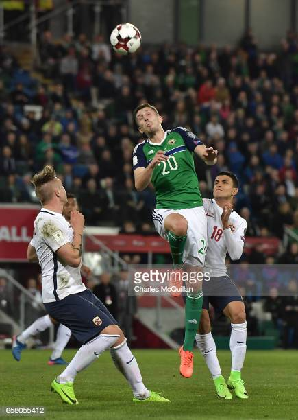Craig Cathcart of Northern Ireland and Mohamed Elyounoussi of Norway during the FIFA 2018 World Cup Qualifier between Northern Ireland and Norway at...
