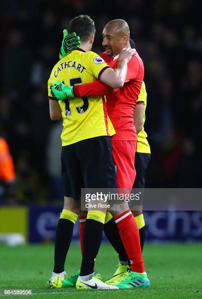 Craig Cathcart of Watford and Heurelho Gomes of Watford celebrate after the Premier League match between Watford and West Bromwich Albion at Vicarage...