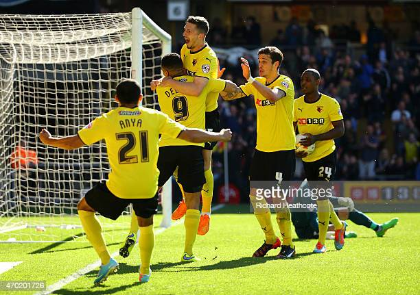 Craig Cathcart of Watford celebrates scoring the first goal during the Sky Bet Championship match between Watford and Birmingham City at Vicarage...