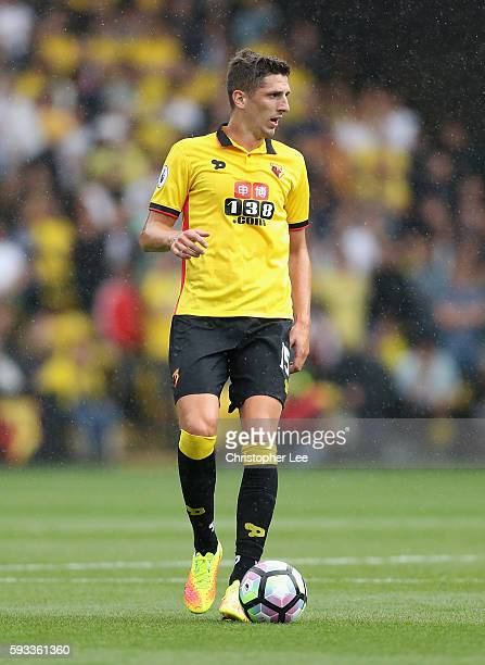 Craig Cathcart of Watford in action during the Premier League match between Watford and Chelsea at Vicarage Road on August 20 2016 in Watford England
