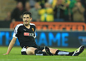 Craig Cathcart of Watford reacts after scoring an own goal during the Barclays Premier League match between Norwich City and Watford at Carrow Road...
