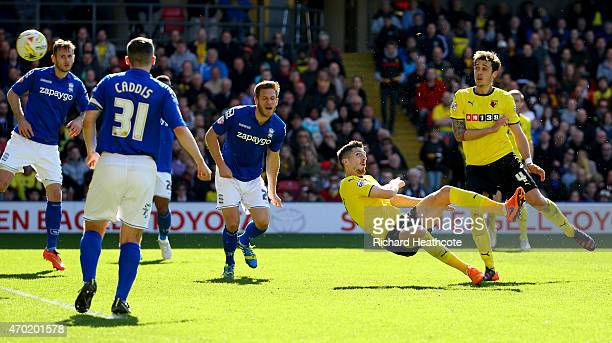 Craig Cathcart of Watford scores the first goal during the Sky Bet Championship match between Watford and Birmingham City at Vicarage Road on April...