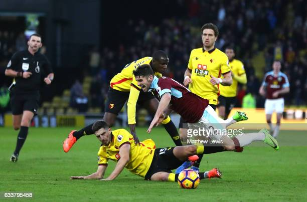 Craig Cathcart of Watford tackles Robbie Brady of Burnley during the Premier League match between Watford and Burnley at Vicarage Road on February 4...