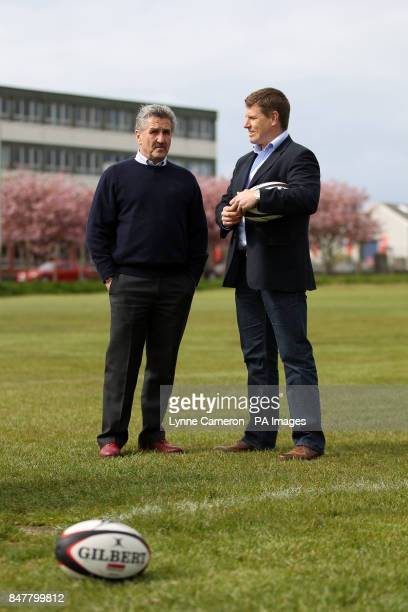 Craig Chalmers and Gerald Davies during the photocall at Ardrossan Rugby Club Ayrshire