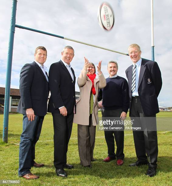 Craig Chalmers Gavin Hastings Chief Executive of North Ayrshire Council Elma Murray Gerald Davies and John Jeffries during the photocall at Ardrossan...