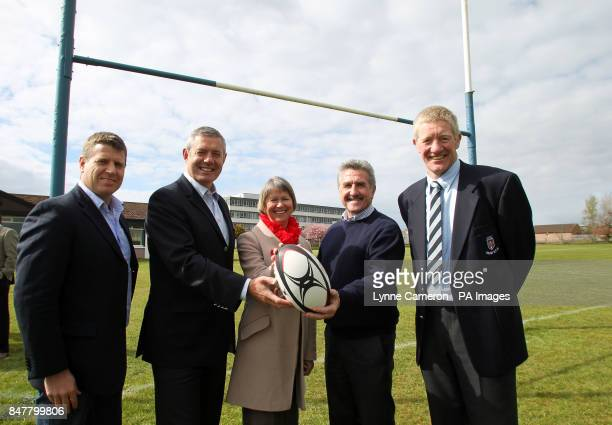 Craig Chalmers Gavin HastingsChief Executive of North Ayrshire Council Elma Murray Gerald Davies and John Jeffries during the photocall at Ardrossan...