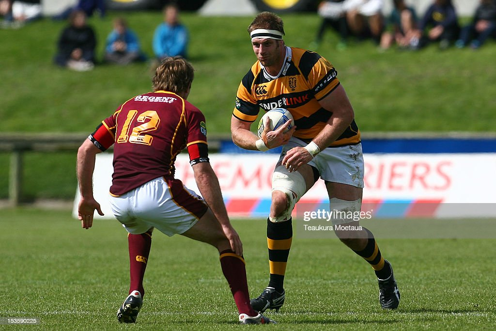 Craig Clarke of Taranaki makes a break during the round 13 ITM Cup match between Southland and Taranaki at Rugby Park Stadium on October 7 2012 in...