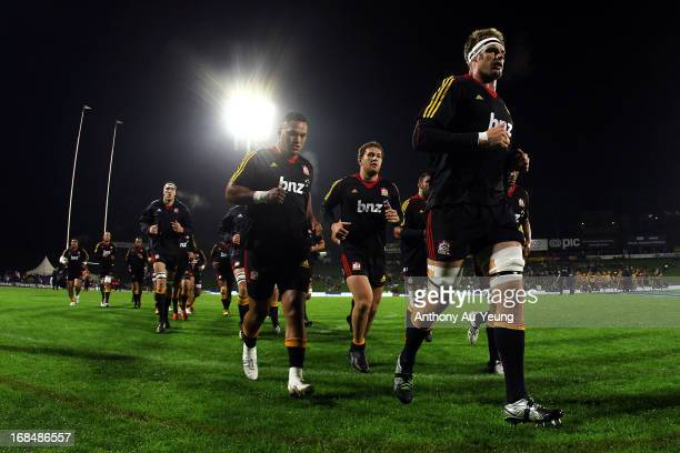 Craig Clarke of the Chiefs leads the team off field before the round 13 Super Rugby match between the Chiefs and the Force at ECOLight Stadium on May...