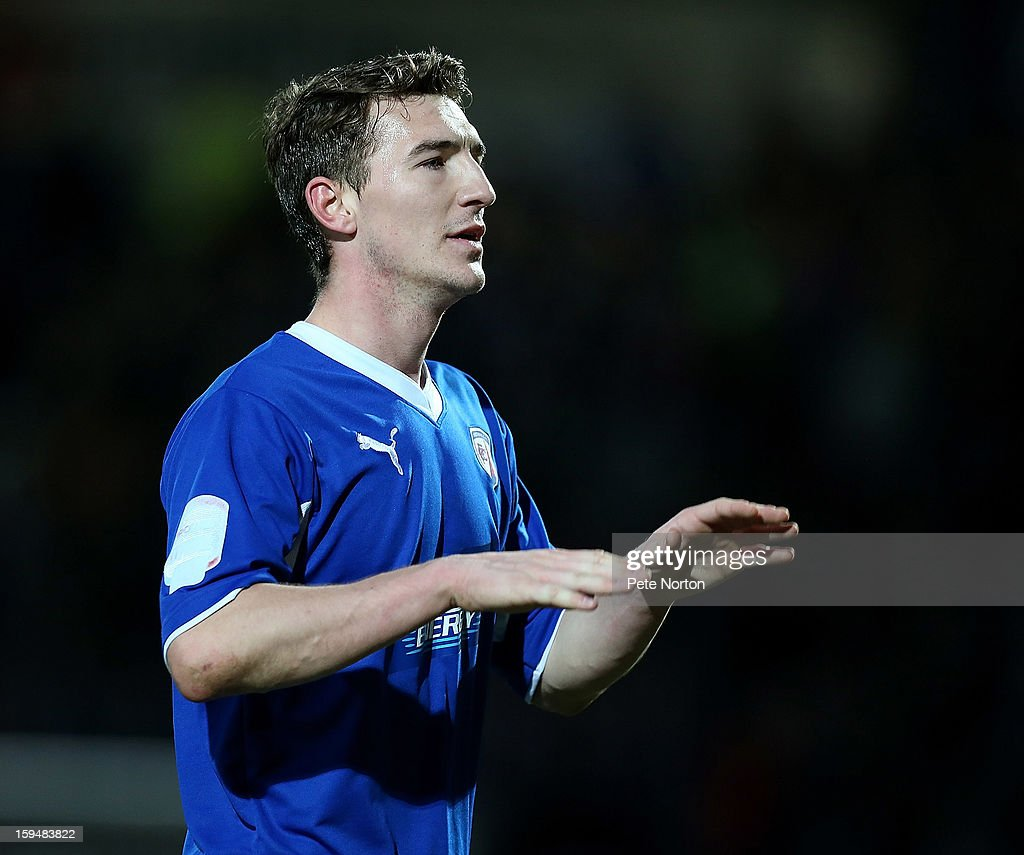 Craig Clay of Chesterfield in action during the npower League Two match between Chesterfield and Northampton Town at the Proact Srtadium on January 12, 2013 in Chesterfield, England.