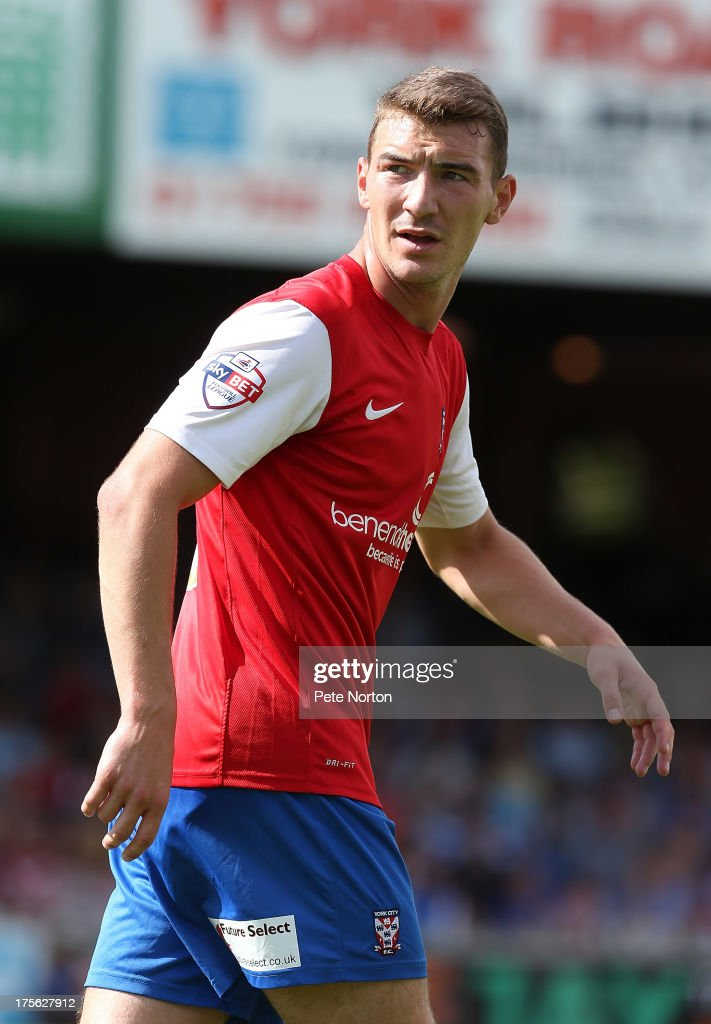 Craig Clay of York City in action during the Sky Bet League Two match between York City and Northampton Town at Bootham Crescent on August 3, 2013 in York, England.