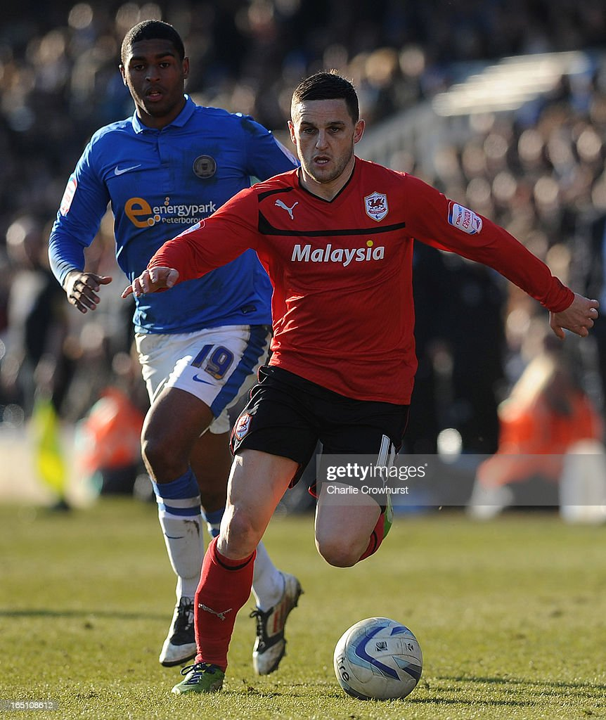 Craig Conway of Cardiff City attacks during the npower Championship match between Peterborough United and Cardiff City at London Road on March 30, 2013 in Peterborough, England,