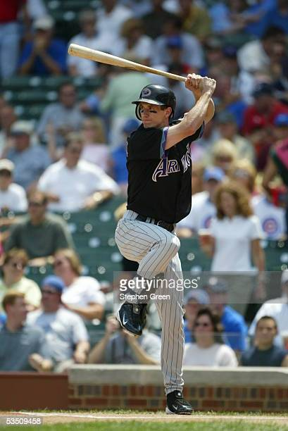 Craig Counsell of the Arizona Diamondbacks bats during the game against the Chicago Cubs at Wrigley Field on July 29 2005 in Chicago Illinois The...
